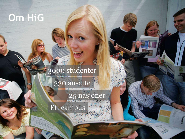 Om HiG 3000 studenter 330 ansatte 25 nasjoner Ett campus