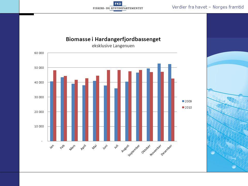 Høyeste nivå for stående biomasse i Hardangerfjorden på lokalitetsnivå er: