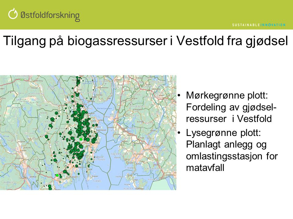 Tilgang på biogassressurser i Vestfold fra gjødsel