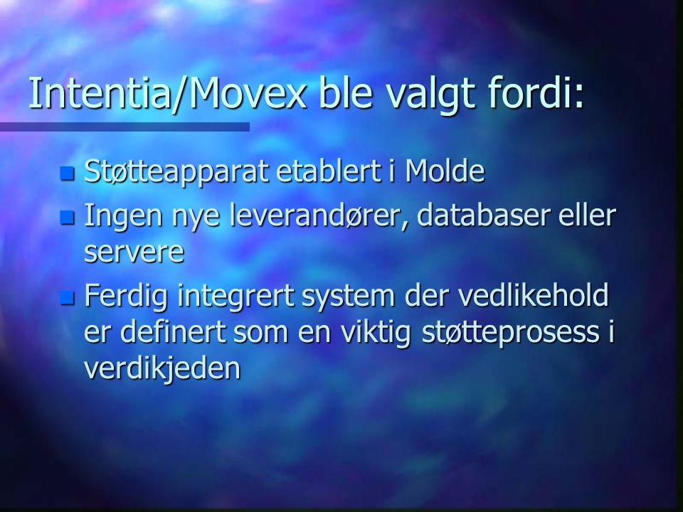 Intentia/Movex ble valgt fordi: