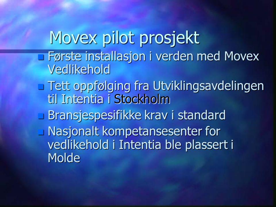 Movex pilot prosjekt Første installasjon i verden med Movex Vedlikehold. Tett oppfølging fra Utviklingsavdelingen til Intentia i Stockholm.
