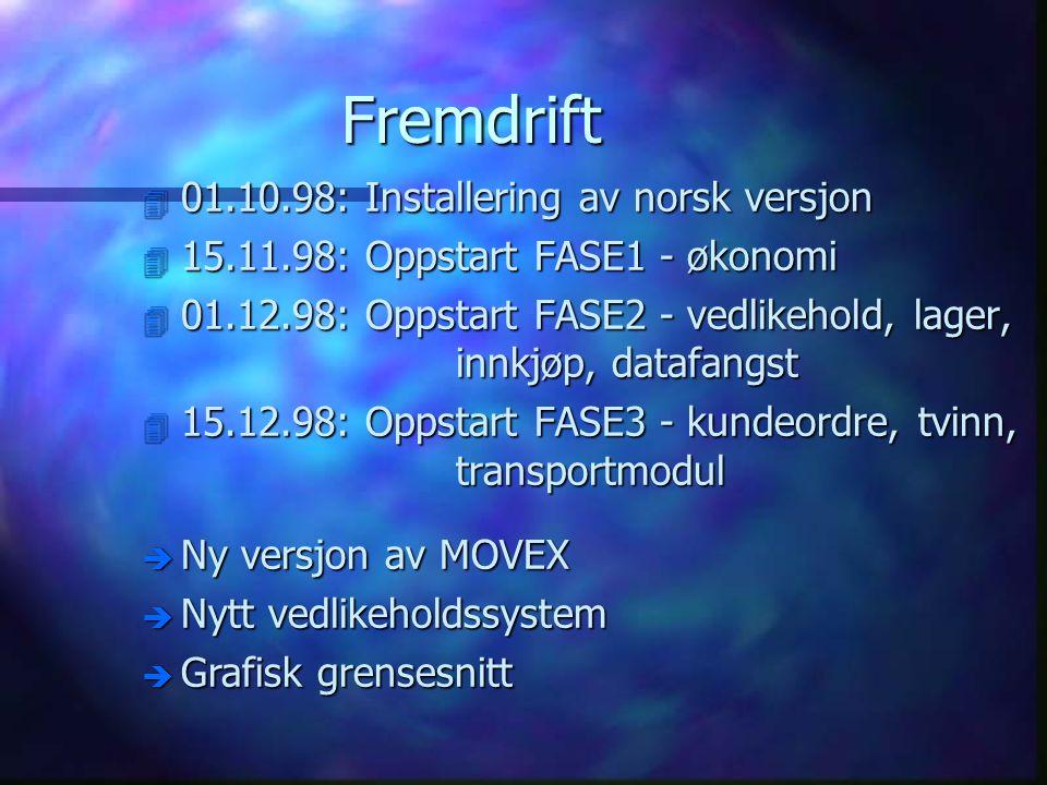Fremdrift 01.10.98: Installering av norsk versjon