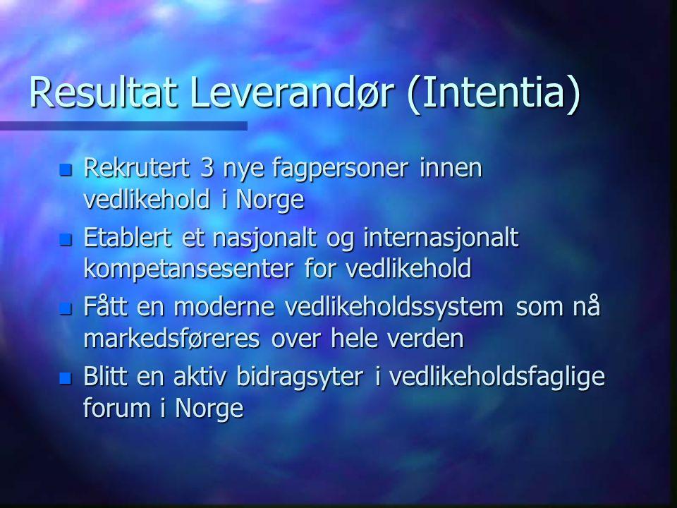 Resultat Leverandør (Intentia)