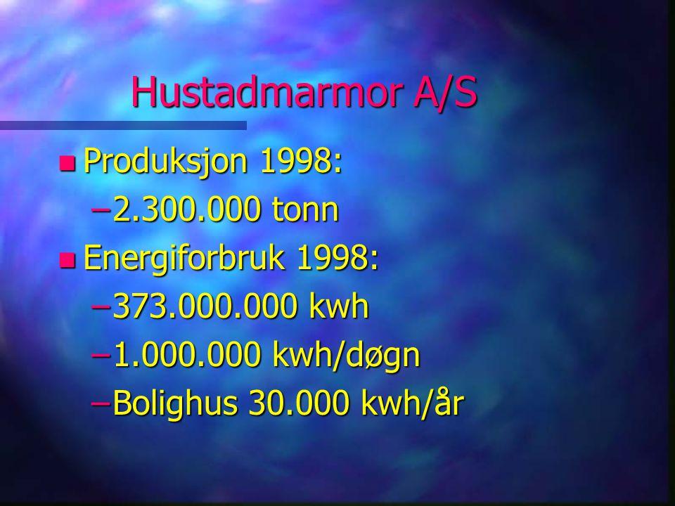 Hustadmarmor A/S Produksjon 1998: 2.300.000 tonn Energiforbruk 1998: