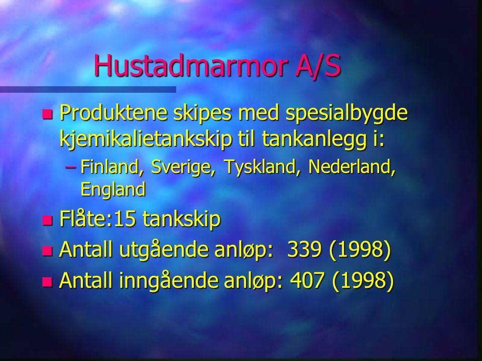 Hustadmarmor A/S Produktene skipes med spesialbygde kjemikalietankskip til tankanlegg i: Finland, Sverige, Tyskland, Nederland, England.