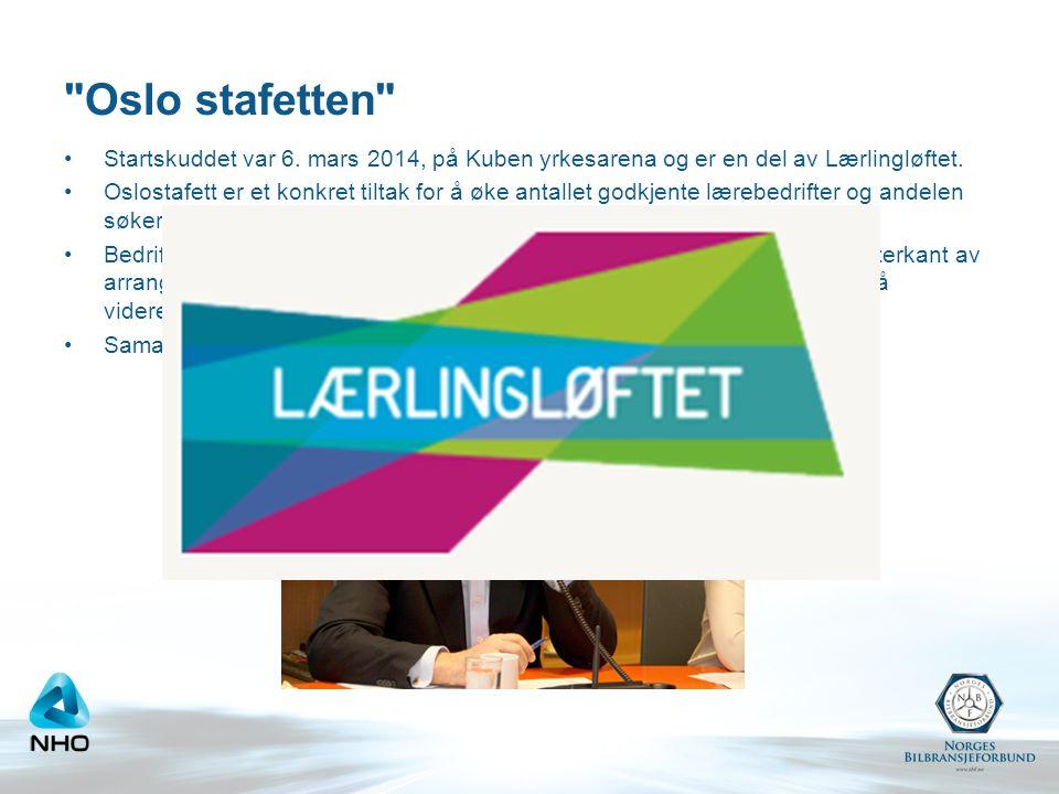 Oslo stafetten Startskuddet var 6. mars 2014, på Kuben yrkesarena og er en del av Lærlingløftet.