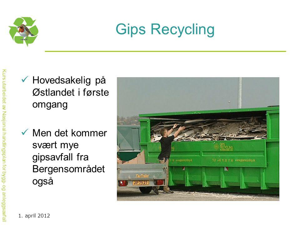 Gips Recycling Hovedsakelig på Østlandet i første omgang