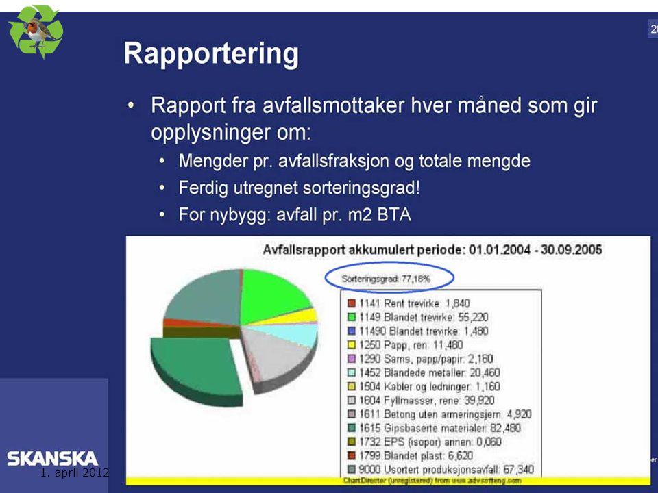 Eksempel på rapport fra en seriøs avfallstranportør/mottaker