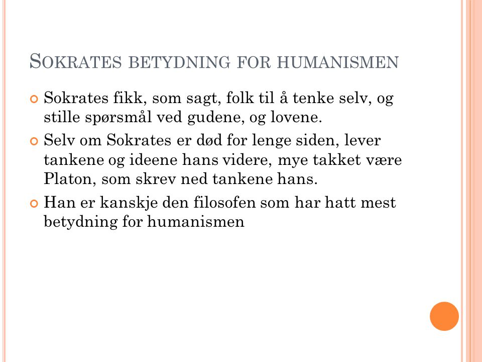 Sokrates betydning for humanismen