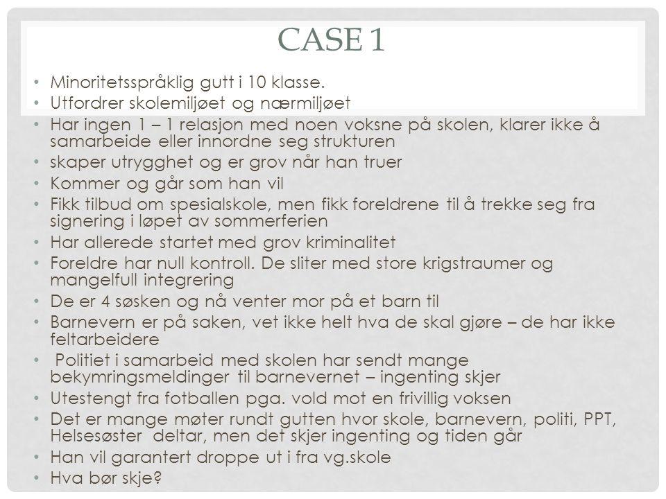 Case 1 Minoritetsspråklig gutt i 10 klasse.