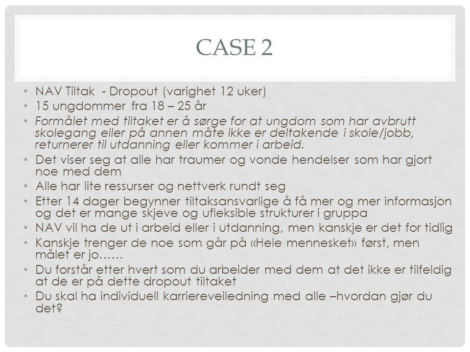 Case 2 NAV Tiltak - Dropout (varighet 12 uker)