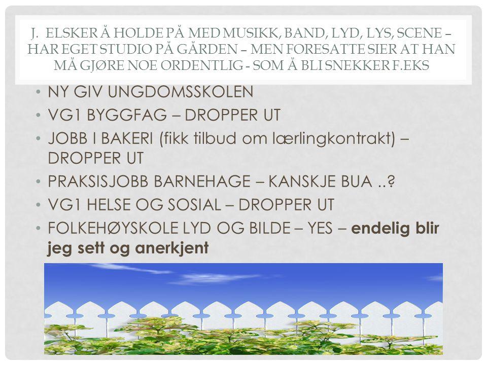 JOBB I BAKERI (fikk tilbud om lærlingkontrakt) – DROPPER UT