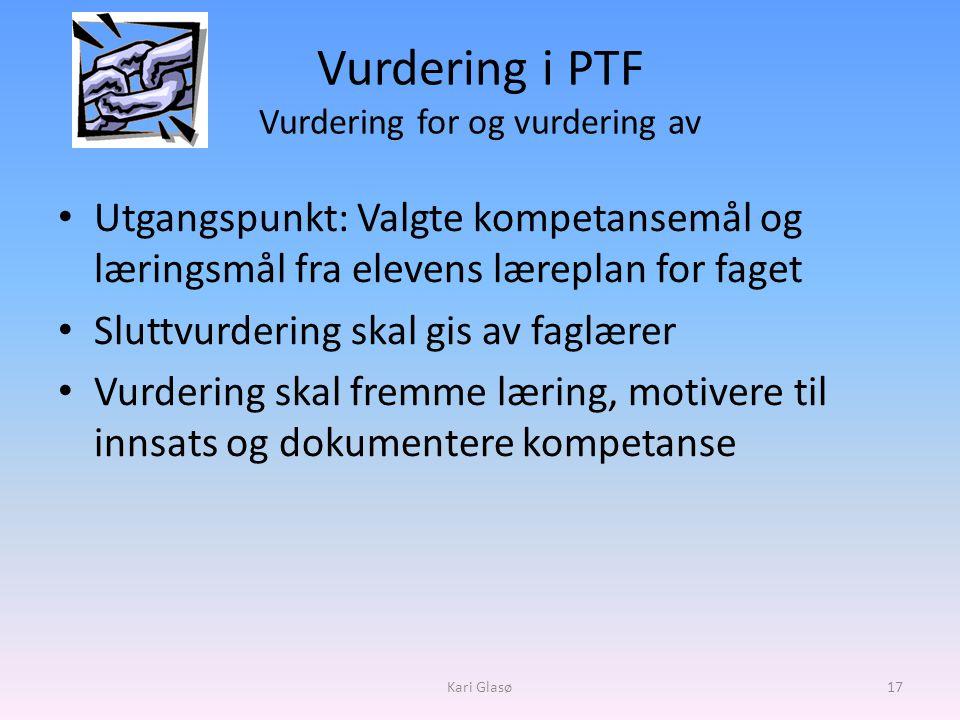 Vurdering i PTF Vurdering for og vurdering av