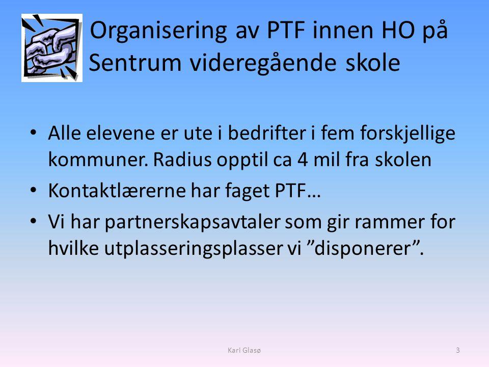 Organisering av PTF innen HO på Sentrum videregående skole