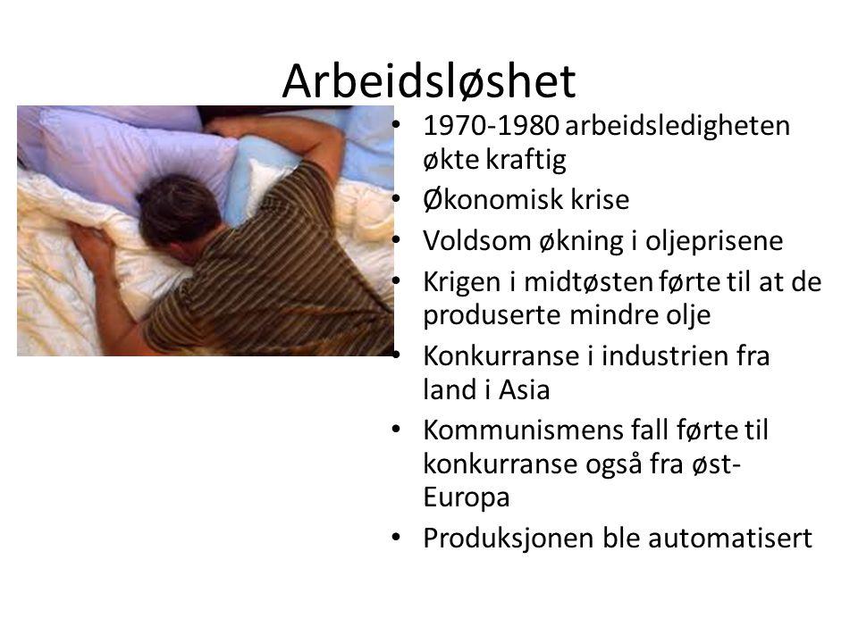Arbeidsløshet 1970-1980 arbeidsledigheten økte kraftig Økonomisk krise