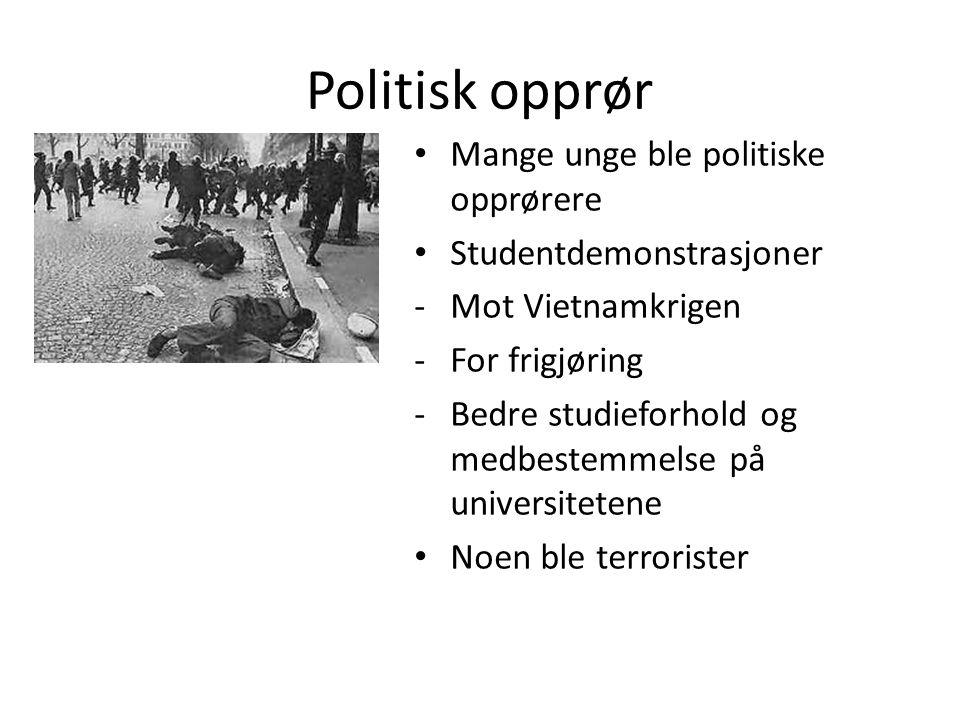 Politisk opprør Mange unge ble politiske opprørere