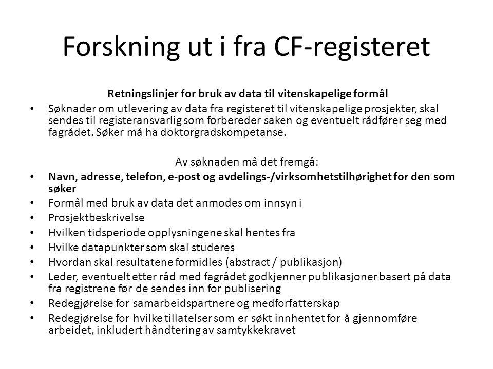 Forskning ut i fra CF-registeret