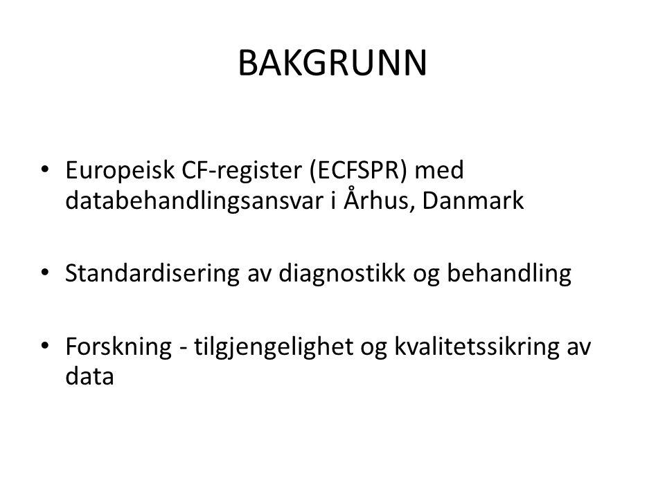 BAKGRUNN Europeisk CF-register (ECFSPR) med databehandlingsansvar i Århus, Danmark. Standardisering av diagnostikk og behandling.