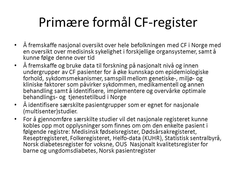 Primære formål CF-register