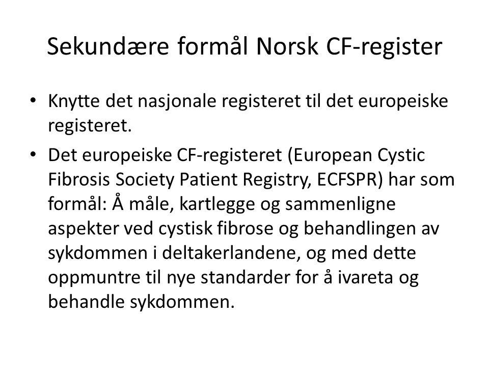 Sekundære formål Norsk CF-register