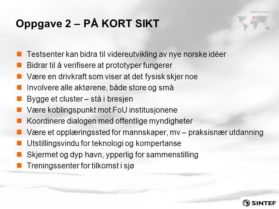 Oppgave 2 – PÅ KORT SIKT Testsenter kan bidra til videreutvikling av nye norske idéer. Bidrar til å verifisere at prototyper fungerer.