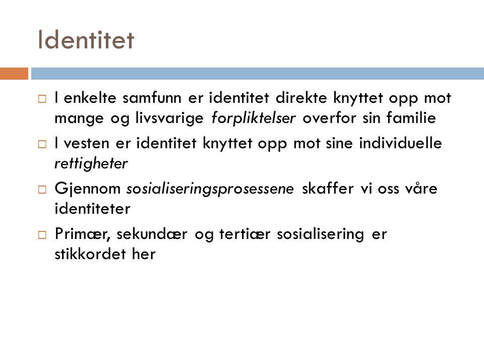 Identitet I enkelte samfunn er identitet direkte knyttet opp mot mange og livsvarige forpliktelser overfor sin familie.