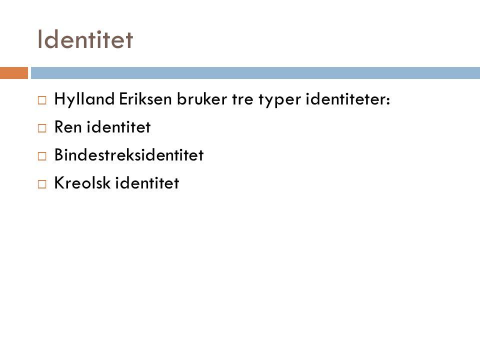 Identitet Hylland Eriksen bruker tre typer identiteter: Ren identitet