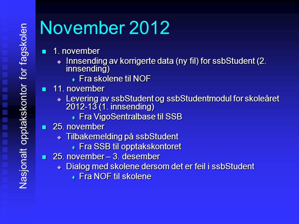 November 2012 Nasjonalt opptakskontor for fagskolen 1. november