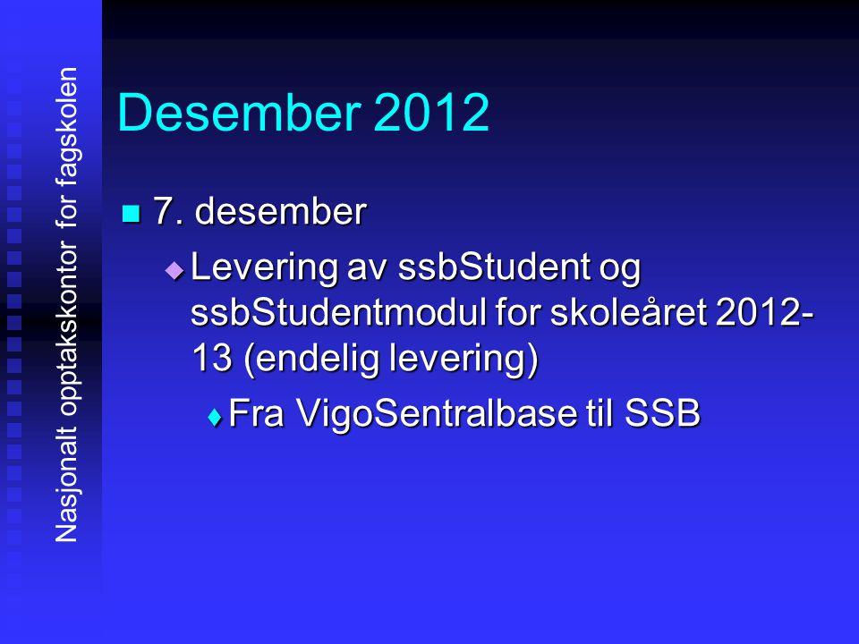 Desember 2012 7. desember. Levering av ssbStudent og ssbStudentmodul for skoleåret 2012-13 (endelig levering)
