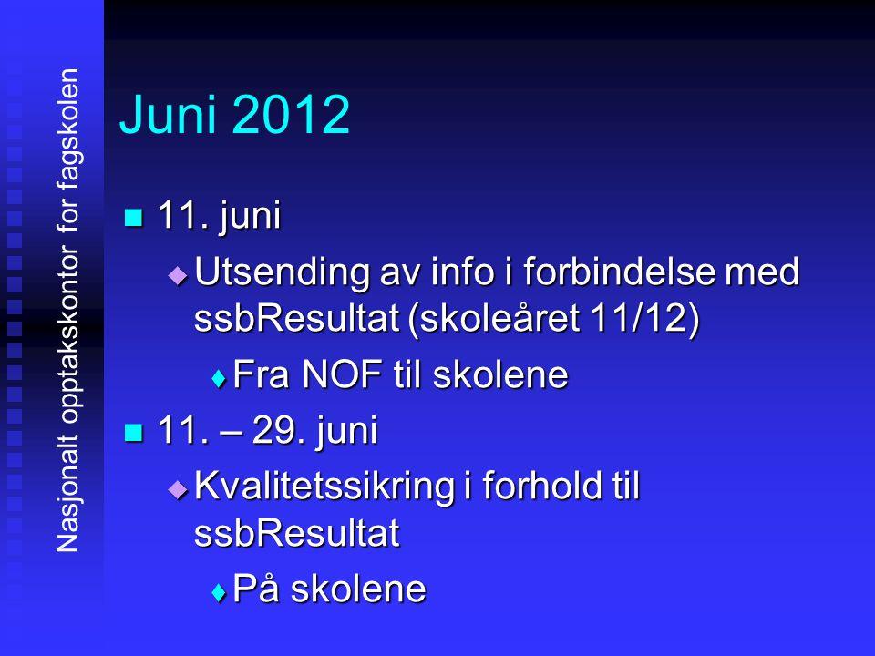 Juni 2012 11. juni. Utsending av info i forbindelse med ssbResultat (skoleåret 11/12) Fra NOF til skolene.