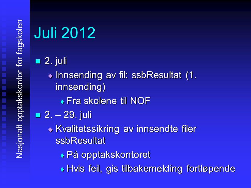 Juli 2012 2. juli Innsending av fil: ssbResultat (1. innsending)