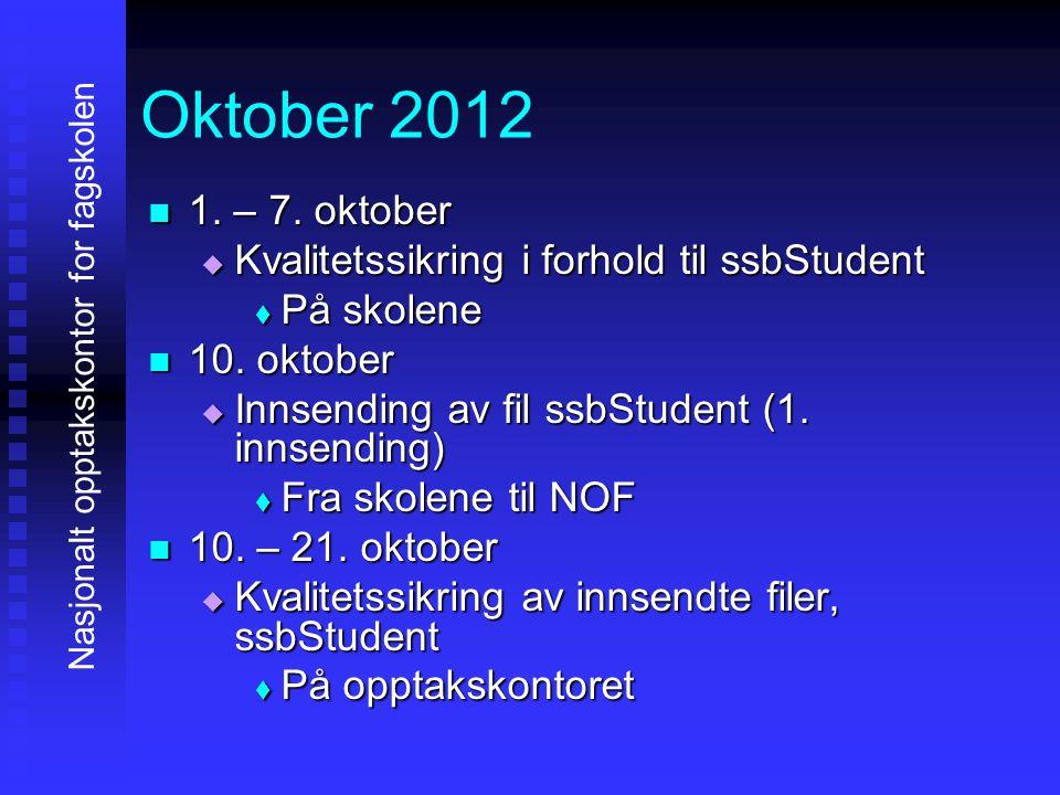 Oktober 2012 1. – 7. oktober Kvalitetssikring i forhold til ssbStudent