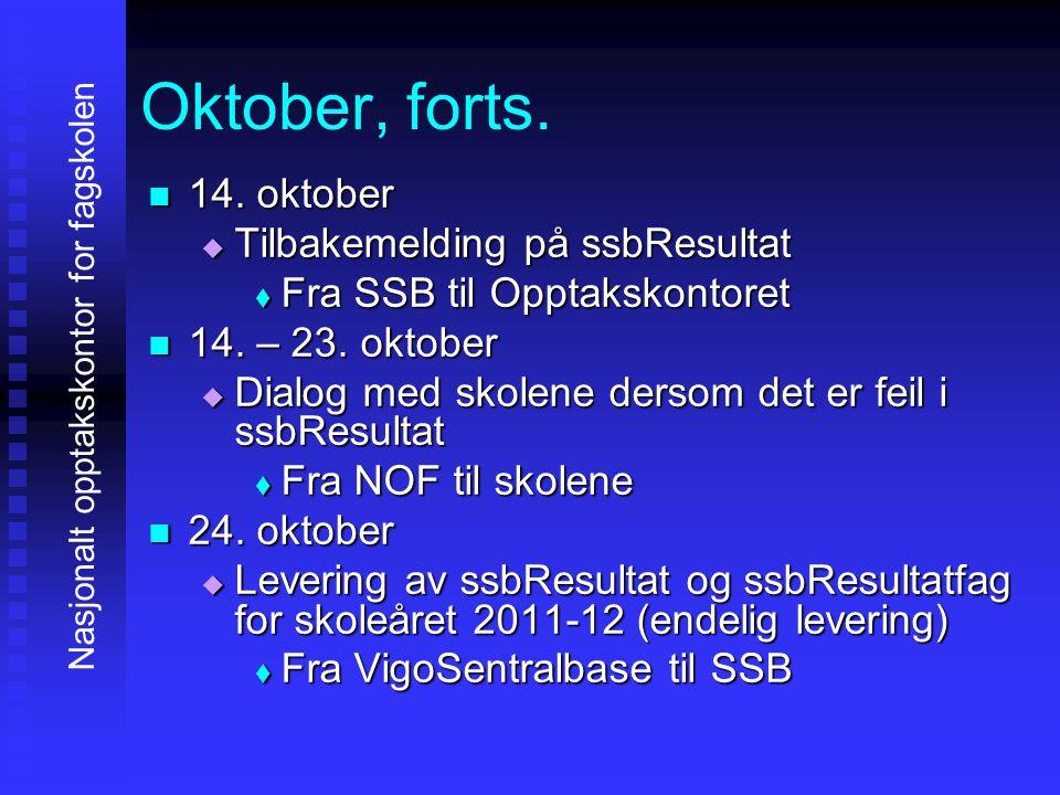 Oktober, forts. 14. oktober Tilbakemelding på ssbResultat