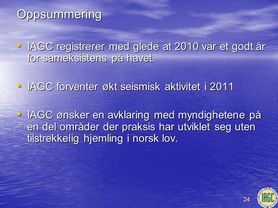 Oppsummering IAGC registrerer med glede at 2010 var et godt år for sameksistens på havet. IAGC forventer økt seismisk aktivitet i 2011.