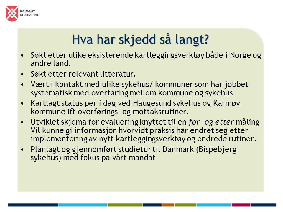 Hva har skjedd så langt Søkt etter ulike eksisterende kartleggingsverktøy både i Norge og andre land.
