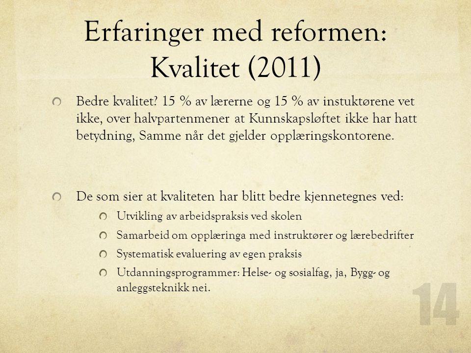 Erfaringer med reformen: Kvalitet (2011)