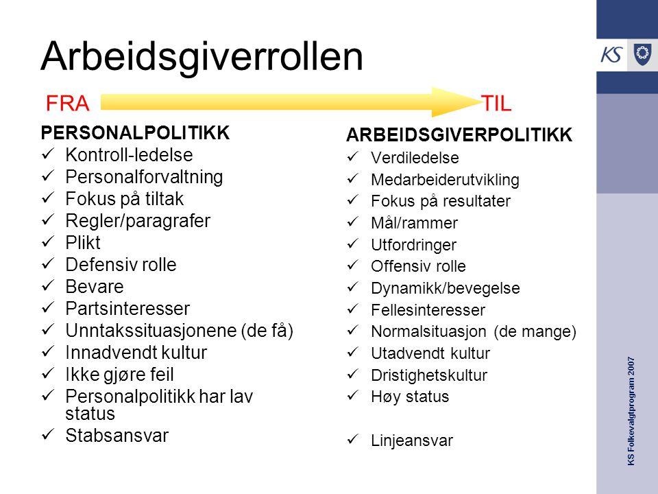 Arbeidsgiverrollen FRA TIL PERSONALPOLITIKK Kontroll-ledelse