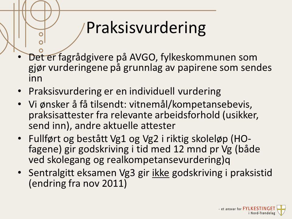 Praksisvurdering Det er fagrådgivere på AVGO, fylkeskommunen som gjør vurderingene på grunnlag av papirene som sendes inn.