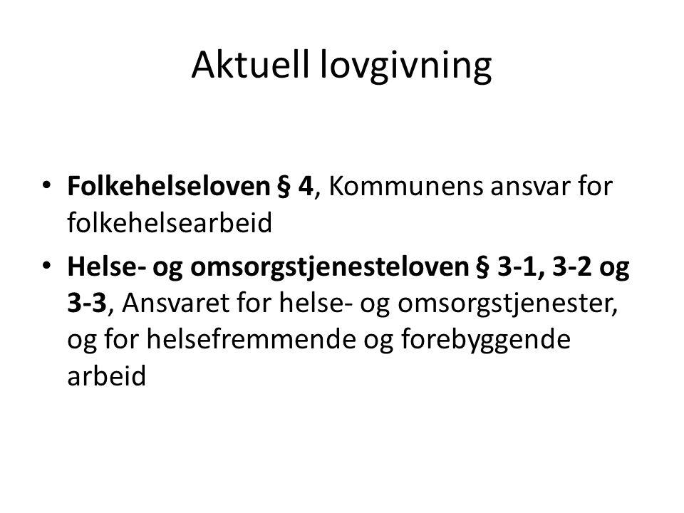 Aktuell lovgivning Folkehelseloven § 4, Kommunens ansvar for folkehelsearbeid.