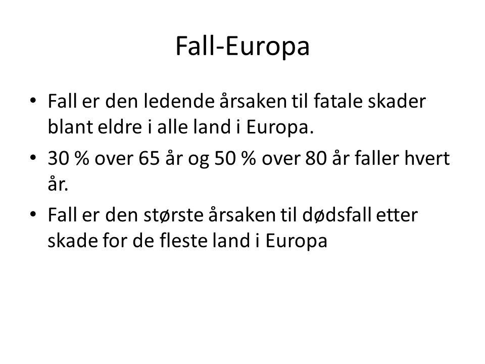 Fall-Europa Fall er den ledende årsaken til fatale skader blant eldre i alle land i Europa. 30 % over 65 år og 50 % over 80 år faller hvert år.