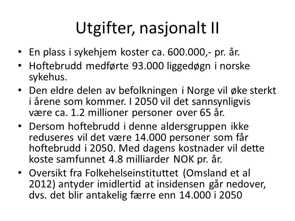 Utgifter, nasjonalt II En plass i sykehjem koster ca. 600.000,- pr. år. Hoftebrudd medførte 93.000 liggedøgn i norske sykehus.
