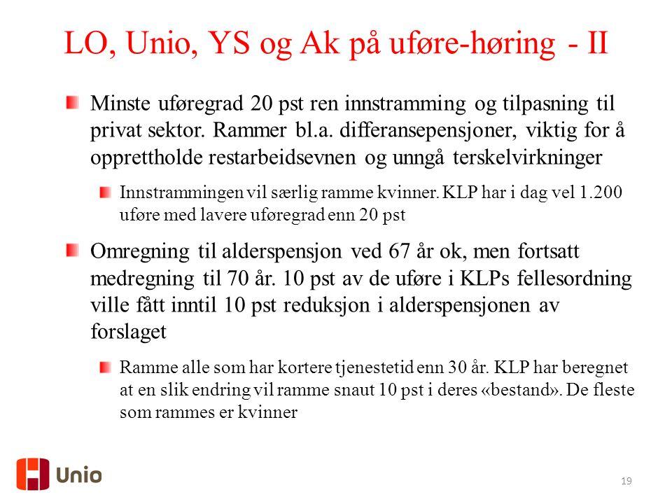 LO, Unio, YS og Ak på uføre-høring - II