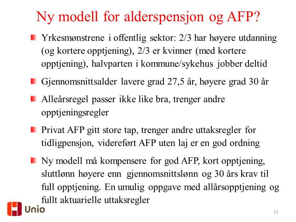 Ny modell for alderspensjon og AFP