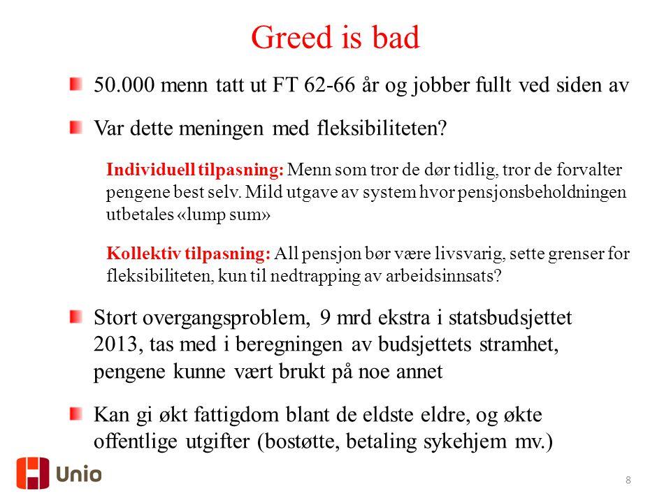 Greed is bad 50.000 menn tatt ut FT 62-66 år og jobber fullt ved siden av. Var dette meningen med fleksibiliteten