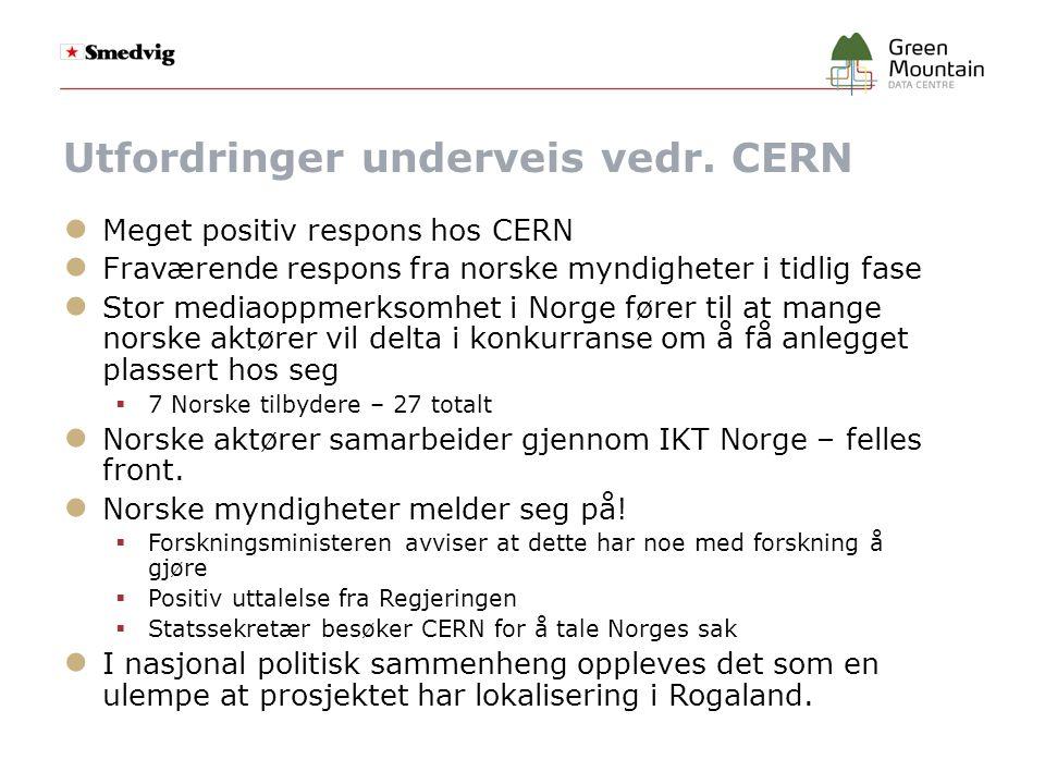 Utfordringer underveis vedr. CERN