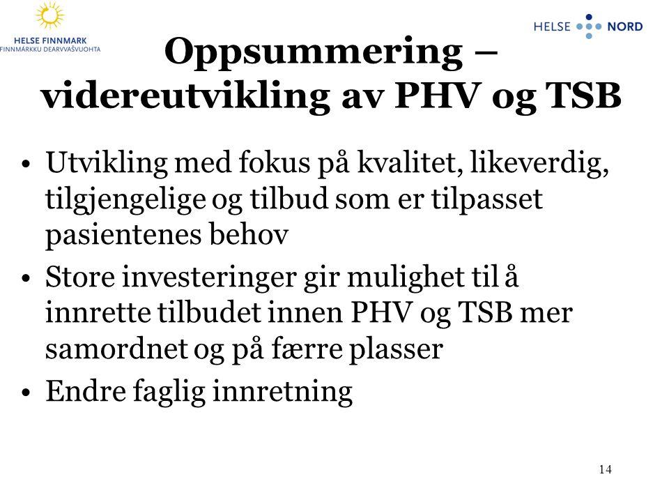 Oppsummering – videreutvikling av PHV og TSB
