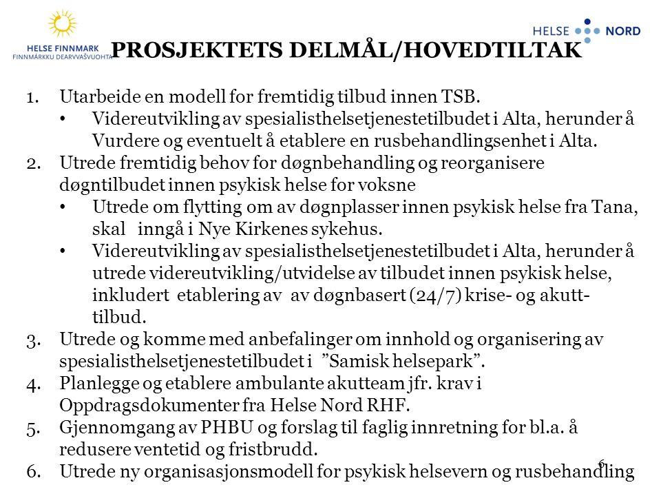 PROSJEKTETS DELMÅL/HOVEDTILTAK