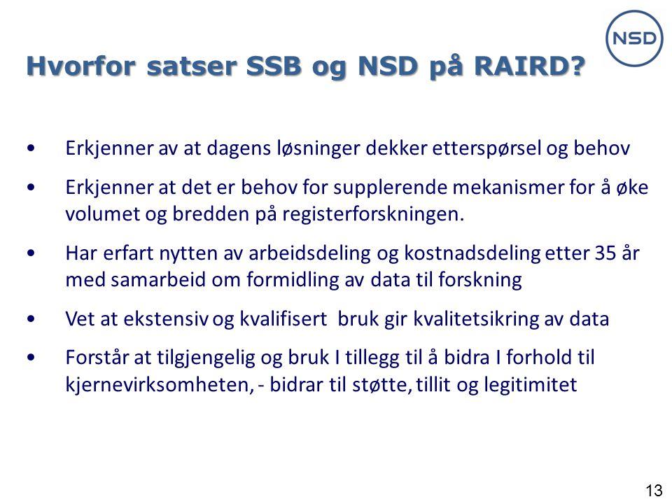Hvorfor satser SSB og NSD på RAIRD
