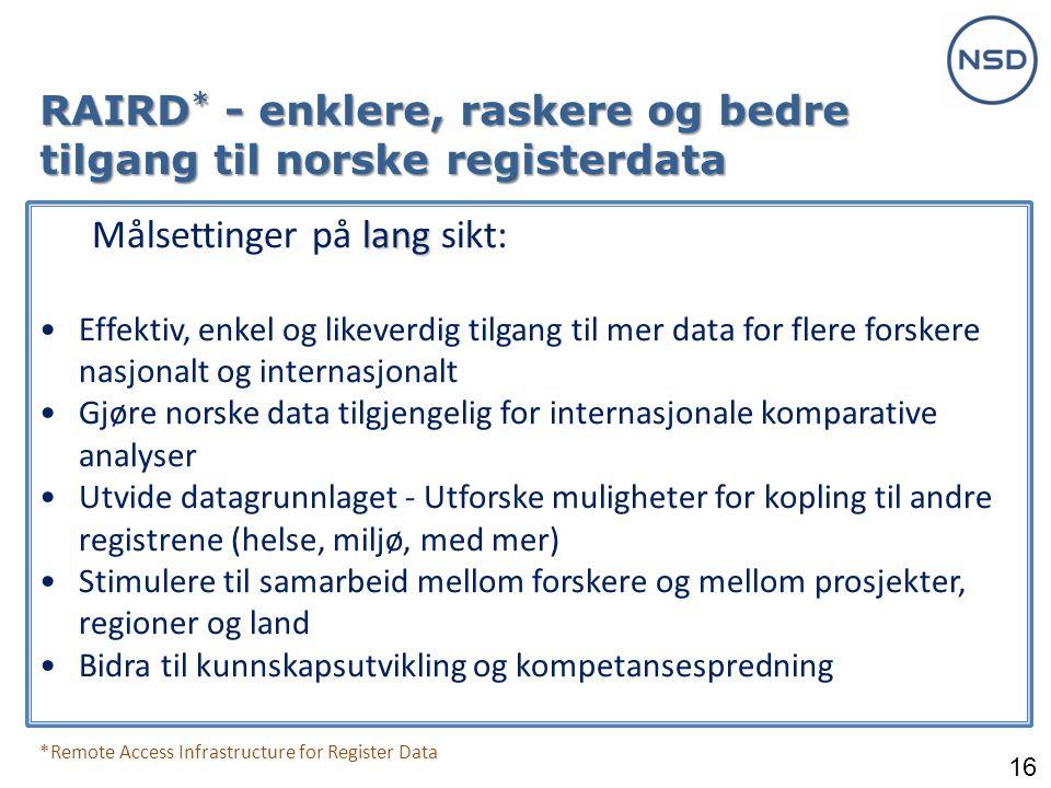 RAIRD* - enklere, raskere og bedre tilgang til norske registerdata