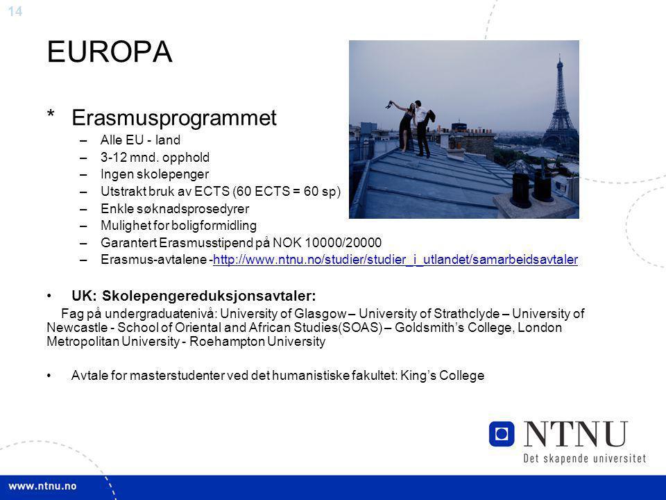 EUROPA * Erasmusprogrammet UK: Skolepengereduksjonsavtaler: